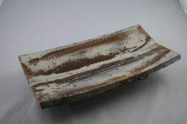 Holz Tablett braun/weiß