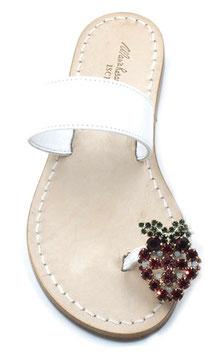 "sandali ""Amalfi"" con fascia bianca e fragola  swarovski -"