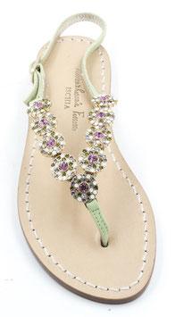"""Sandali artigianli modello """"Fortuna""""Verdi con Cristalli Swarovski Rosa."""