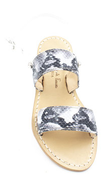 """Sandali a fasce modello """"Capri"""" bianco -grigio  con cinturino."""