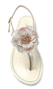 """Sandali infradito """"Peonia""""  rosa-pesca ,con suola glitter ,tacco 1 cm."""