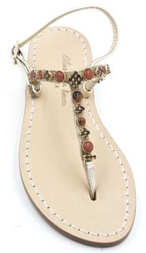 """Sandali artigianali """"Irene"""" a T colore Corallo"""