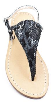 """Sandali  artigianali modello """"Venere"""" nero effetto pitone"""