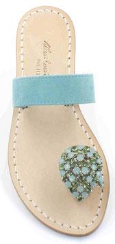 """sandali artigianali """"IOLE"""" azzurro -verde acqua."""