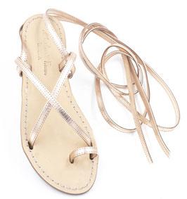 """Sandali artigianali alla schiava modello """"Vèronique"""" colore oro-rosa."""