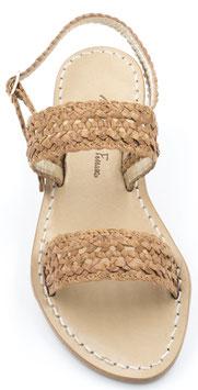 "Sandali artigianali intrecciati ""Amanda"" Cuoio"