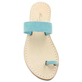 """Sandalo Amalfi """"basic a fascia"""" colore camoscio turchese."""