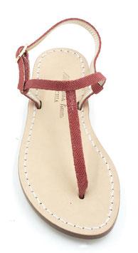 """sandali artigianali infradito """"Ermes""""rosso pitonato-lucido."""