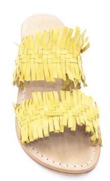 """Sandali artigianali intrecciati (fascia) """"Sorrento"""" colore giallo"""