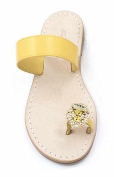 """sandali """"amalfi"""" con fascia gialla e limone swarovski su alluce."""
