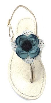 """Sandali infradito """"Peonia""""  blu ,con suola glitter ,tacco 1 cm."""