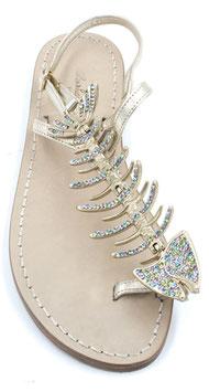 Sandali d'orati ,lisca multicolor, e oro platino .