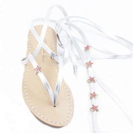 """Sandali infradito schiava , moda Positano """"cielo -stellato"""" con stelle rosso-corallo."""