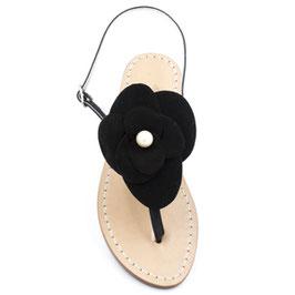 "Sandali artigianali modello ""Camelia"" t.nero."