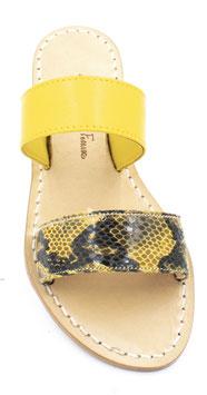 """Sandali a fasce modello """"Vivara""""  colore giallo e pitonato giallo-nero."""