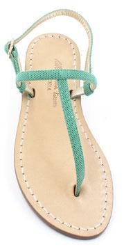 """sandali artigianali infradito """"Ermes""""colore verde ,effetto pitonato lucido."""