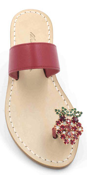 "sandali ""amalfi"" con fascia rossa e fragolina swarovski -"