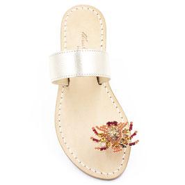 """Sandali gioiello """"Zoe"""" oro-corallo."""