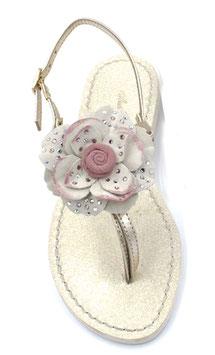 """Sandali infradito """"Peonia""""  rosa-pallido ,con suola glitter ,tacco 1 cm."""