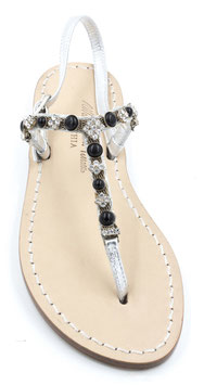 "Sandali artigianali modello ""Irene"" argento-nero"