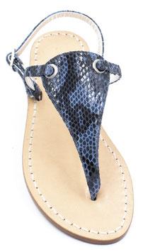 "Sandali  artigianali modello ""Venere"" pitonato blu'."