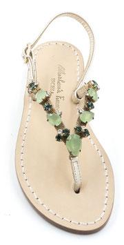 """Sandali artigianali modello """"Berenice"""" Verdi."""