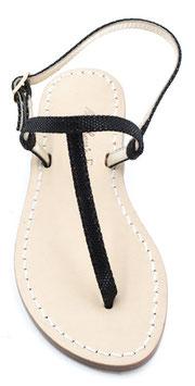 "sandali artigianali infradito ""Ermes""nero  pitonato-lucido."