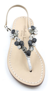 "Sandali artigianali ""Berenice"" argento e neri."