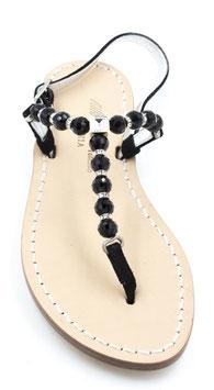 """Sandali """"Krizia """"con perle nero e Cristallo Swarovski."""