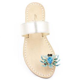"""Sandali gioiello """"Zoe"""" oro e turchese."""