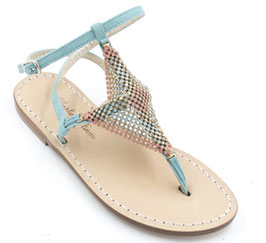 "Sandali artigianali camoscio azzurri ""Palmira"""