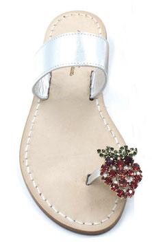 "sandali ""Amalfi"" fascia argento e fragolina swarovski ."