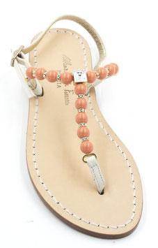 """Sandali """"Krizia """"con perle Corallo e Cristallo Swarovski."""