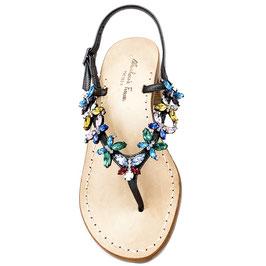 """Sandali artigianali gioiello; modello """"Aglaia"""" multicolore con suola color cuoio naturale."""