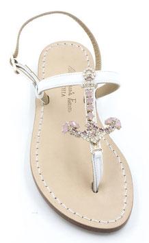 """sandali infradito artigianali """"Calipso """" colore rosa . applicazione swarovski."""