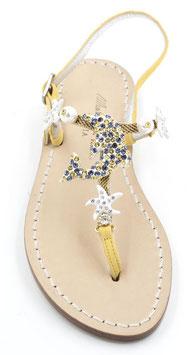 sandali infradito artigianali con delfino swarovski gialli.