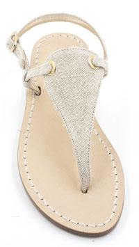 """sandalo artigianale infradito """"venere """" beige in tela."""