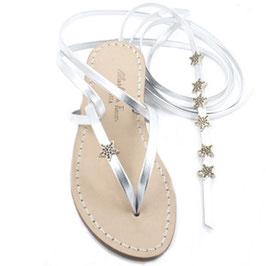"""Sandali alla schiava """"cielo stellato"""" con stelle argento. Moda Positano."""