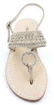 """Sandali artigianali intrecciati modello """"Simona""""beige."""