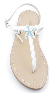 "Sandali artigianali ""Emy"" bianco con stella turchese."