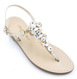 "Sandali artigianali ""Nike"" aurora boreale -oro platino."