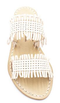 """Sandali artigianali intrecciati (fascia) """"Sorrento"""" colore cuoio chiaro."""