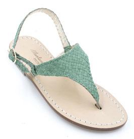 """sandali artigianali ,triangolo modello """"Aurora"""" verde."""