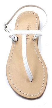 "Sandali artigianali semplici ""Ermes"" bianco ."