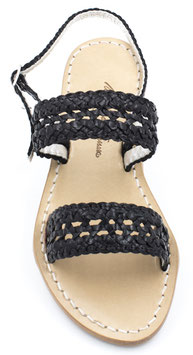 """Sandali artigianali intrecciati """"Amanda"""" Neri con tacco da 1cm,3c, e 5cm."""