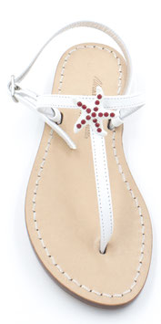 """Sandali artigianali """"Emy"""" bianco con stella rosso-corallo."""