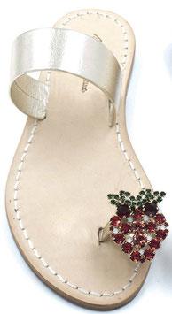 "sandalo fascia dorata ""amalfi"" con fragolina swarovski -"