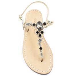 "Sandali  gioiello ""Teodora"" Neri."