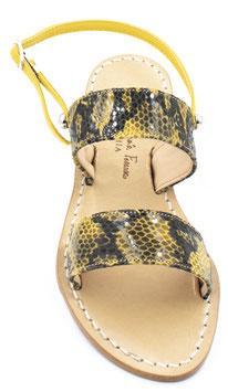 """Sandali a due fasce modello """"Capri"""" colore giallo ."""