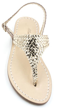 "sandali artigianali ,triangolo modello ""Aurora"" oro."